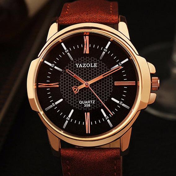 Relógio Masculino Luxo Yazole Pulso Social Pulseira Couro N4
