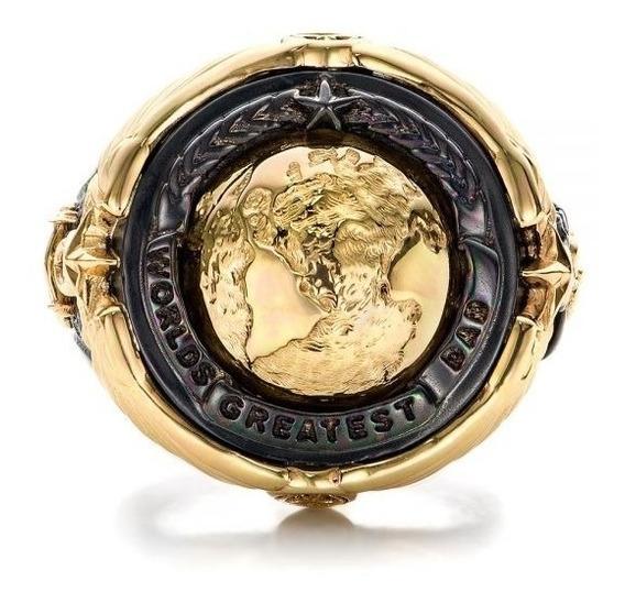 Anel Masculino World Map Dourado Ouro 14k