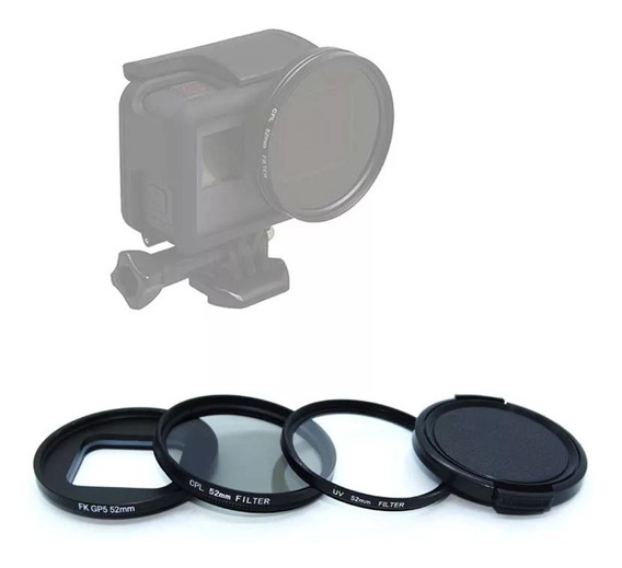 Kit 2 Filtros 52mm Cpl E Uv + Adaptador Gopro 5/6