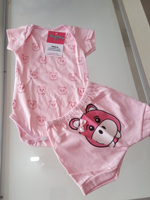Conjunto Bebê Body E Shortinho Rosa