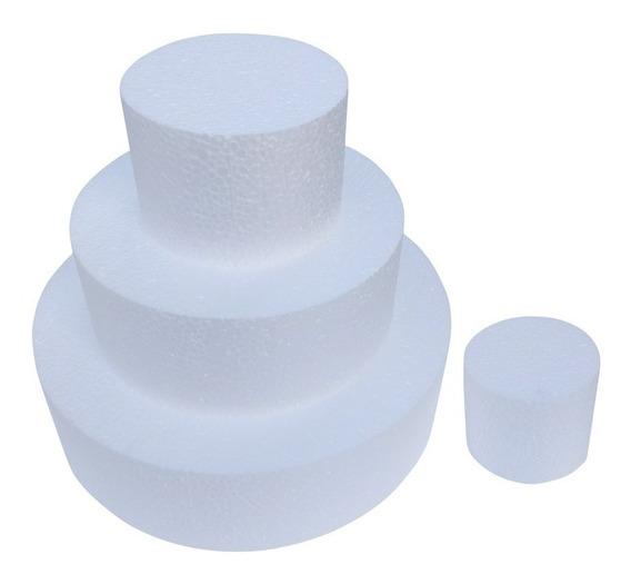 5 Kits Isopor Bolo Fake Falso 15 25 35 Cm X 10 Cm + Brinde