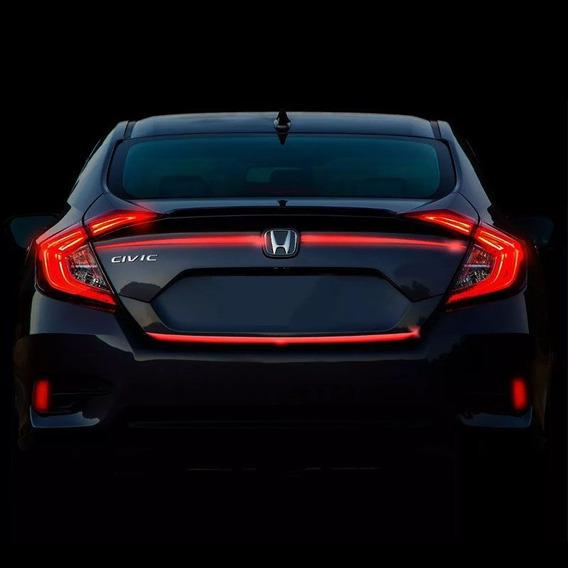 Frisos Porta-malas Civic G10 2017 Refletivo Resinado Verm.