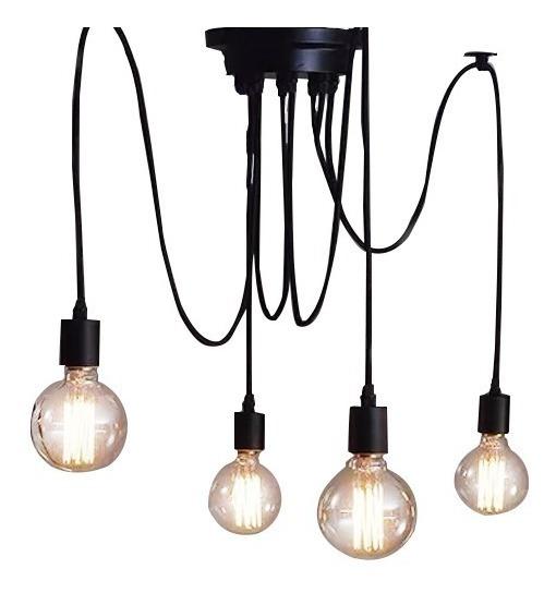 Lustre Para 4 Lampada Preto - Thomas Edison