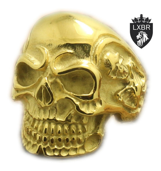 Anel Ouro 18k Aço Inox 316l Caveira Punk Moto Mc Olho Illuminati Diabo Lucifer Viking Mc Hip Hop Dourado Maçom Lxbr A99