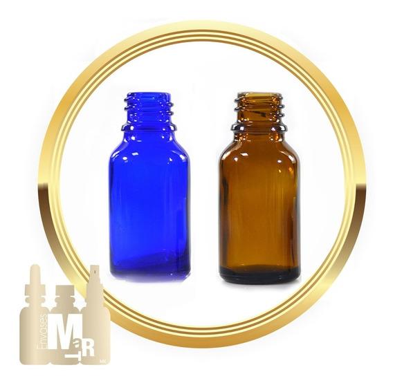 Botella Gotero Pipeta Vidrio 50 Ml. Ambar/azul (6 Piezas)