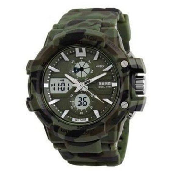Relógio Masculino Skmei Anadigi 0990 Verde C/ Garantia E Nf