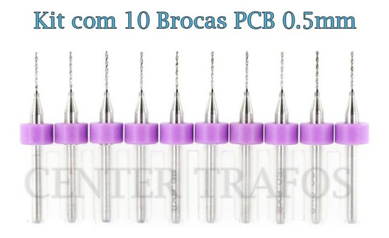 Kit Com 10 Brocas Pci 0.6mm Pcb Router Cnc Dremel
