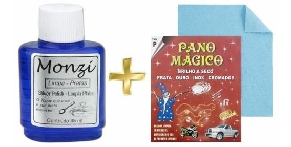 Limpa Prata Monzi 35 Ml + Pano Mágico Polir Corrente Joias