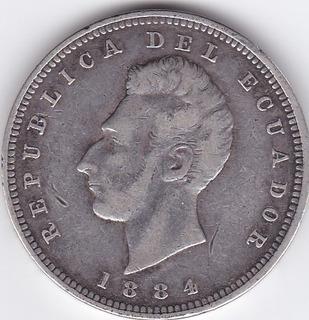 Moneda Decimal Ecuador! Un Sucre 1884 Birm - Izquierdo