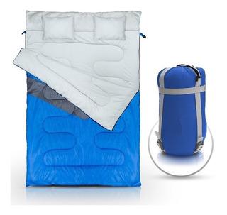 Saco De Dormir Kuple Casal -5ºc À 5ºc Nautika + Travesseiro
