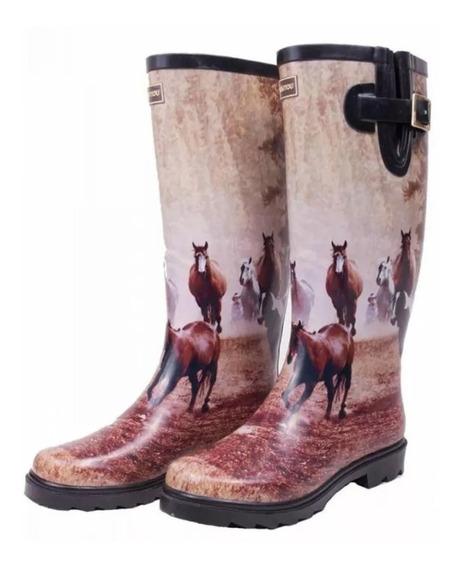 Galocha Feminina Importada Kesttou Country Estampa Cavalos