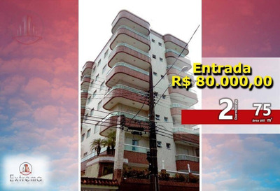 Apartamento Com 2 Dormitórios À Venda, 75 M² Por R$ 280.000 - Vila Caiçara - Praia Grande/sp - Ap0966
