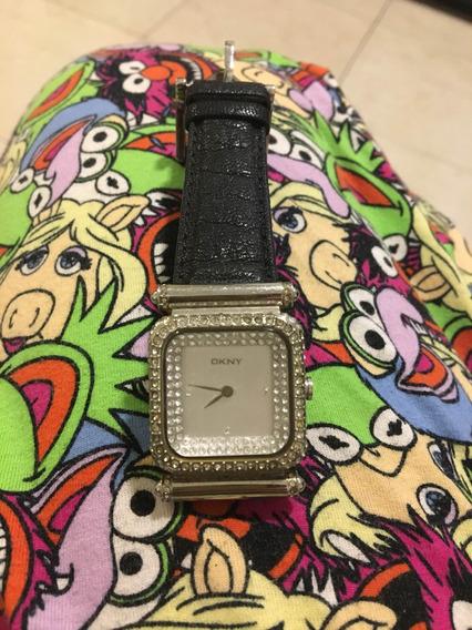 Relógio Dkny Couro Prata E Cristais Swarovski Luxo Frete Gt