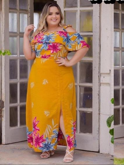 Vestido Longo Plus Size Tecido Moda Gg Do 44 Ao 54