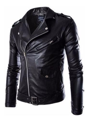 Chaqueta De Cuero Sintético Negra Fashion Hombre Motorcycle