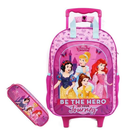 Kit Mochila Infantil C/rodinhas E Estojo Princesas Disney De