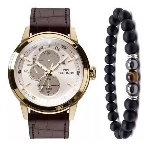 Relógio Technos Masculino 6p57ac/2c Couro + Pulseira Onix