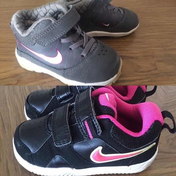 Dois Tênis. Nike 20 21 Menina Infantil Desapegos Rosa Preto