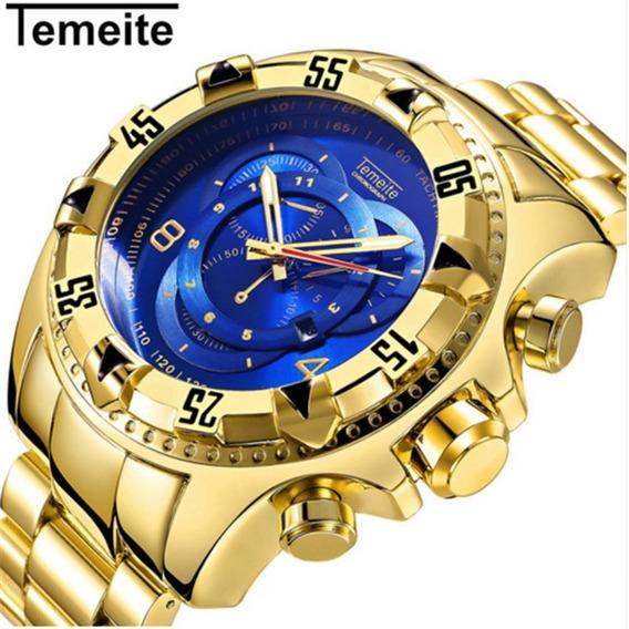 Relógio Masculino Temeite Dourado Azul Promoção 020g