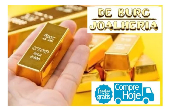 Barra De Ouro 18k 8g Conf. Joias Certificado Pureza - Novo