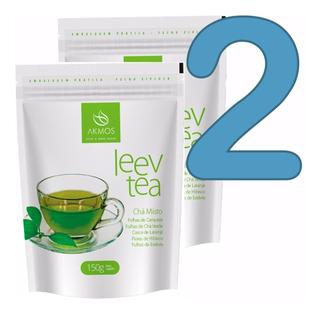 Kit Com 2 Leev Tea Akmos Cha Misto 150g Emagrece Original