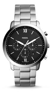 Reloj Fossil Fs5384 Silvertone Black Dial Chronograph Hombre