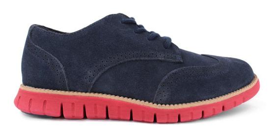 Zapato Oxford Cole Haan Para Niño Azul Suela Zero Gran Rojo