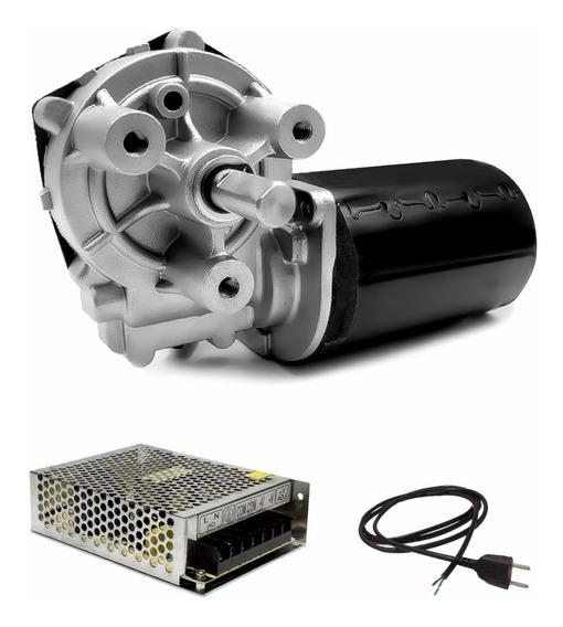Motor Com Redução Motoredutor Dc 12v 40 Rpm + Fonte 12v 10a