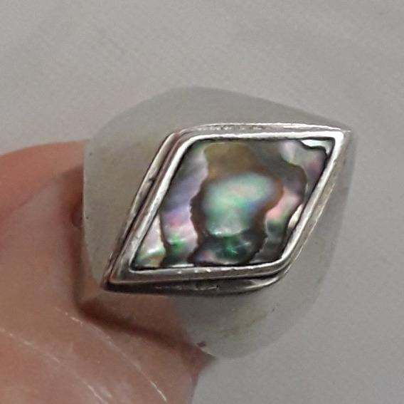 Anel De Metal Prateado Com Pedra Abalone.