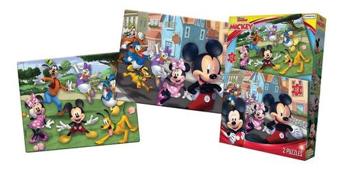 Imagen 1 de 3 de Rompecabezas 2 Puzzle 12/18 Piezas Personaje Mickey Disney