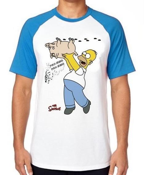 Camiseta Luxo Simpsons Porco Aranha Homer Filme Engraçada