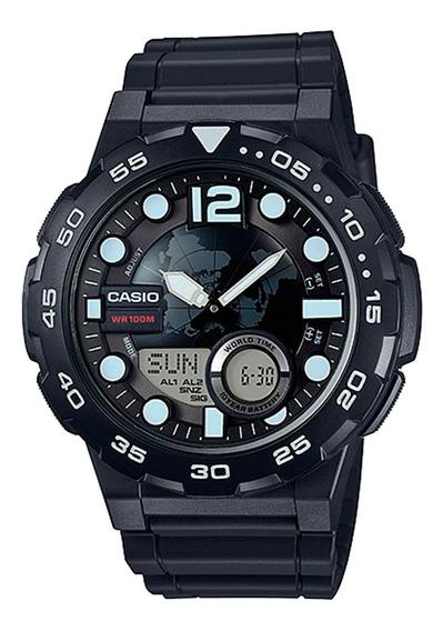 Relógio Casio Aeq-100w-1avdf Masculino Preto - Refinado