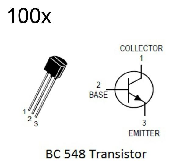 100 Peças Transistor Npn Bc548 Transistores Bc548 Arduino