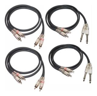 4 Juegos De Cables De Audio 2 X Rca Rca 2 X Rca A Plug 1mts