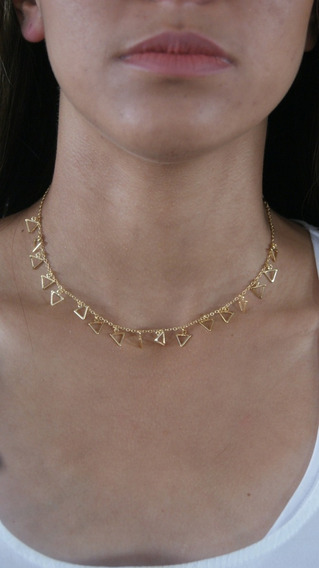 Chocker Triangulo Banhado À Ouro 18k Helena Joias - Dourad