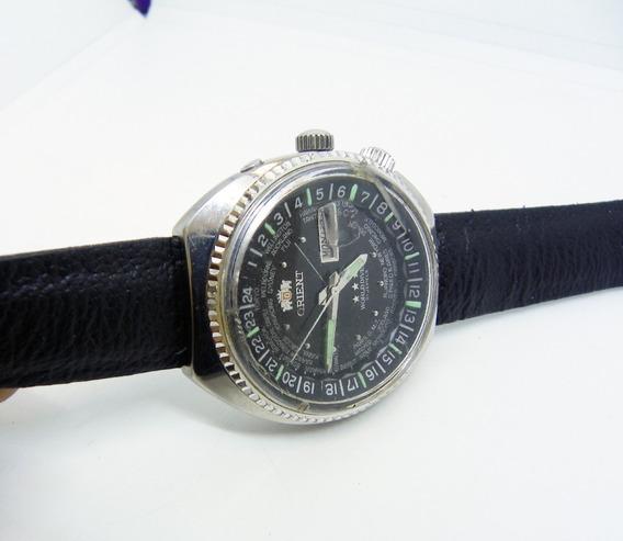Reloj Orient Diver Hora Mundial Caja De Acero Day/date