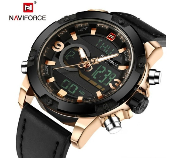Relógio Masculino Original Naviforce Dourado Luxuoso Present