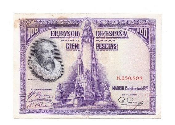 España 100 Pesetas Año 1928 Pick 76 Miguel De Cervantes Vf+