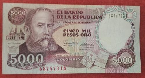 Imagen 1 de 2 de Billete Colombiano Antiguo 5000 Nuñez