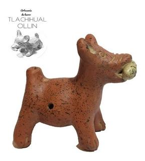Figura Prehispánica De Barro Perro Xoloitzcuintle. Silbato