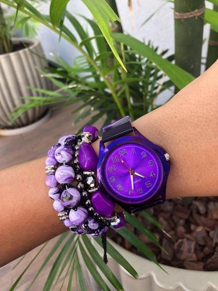 Relógio Feminino Roxo + Pulseiras Com Caixinha Preta