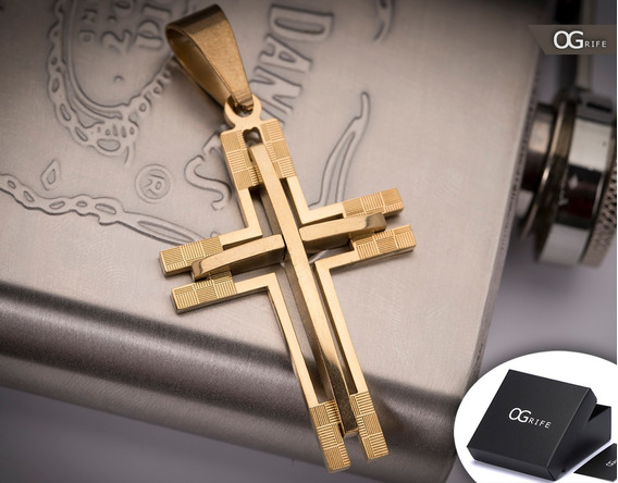 Pingente Crucifixo P/ Corrente Aço Inox J-315 Banhado Ouro