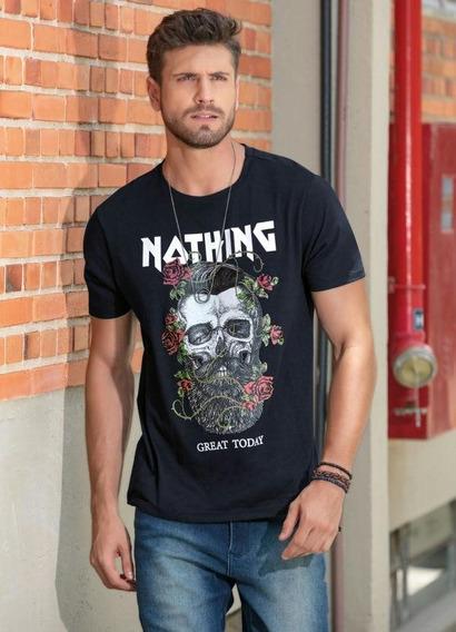Camiseta Masculina Top Line Preta Caveira Com Rosas