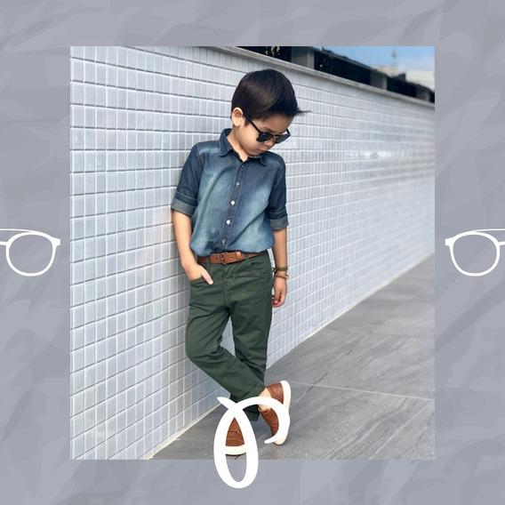 Conjunto Paraiso Luxo Menino Longo Jeans 1 2 3 4 Ref 8135