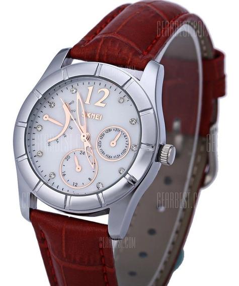 Relógio Feminino Vermelho Skmei Pulseira De Couro - Original