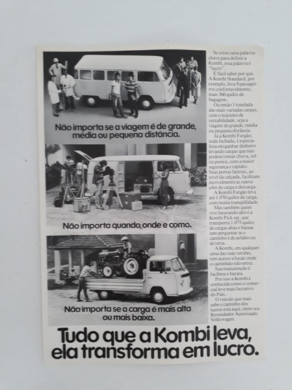 Folder Folheto Propaganda Características Técnicas Vw Kombi