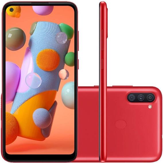 Celular Samsung Galaxy A11 Vermelho 64gb Tela 6.4 Cam Tripla