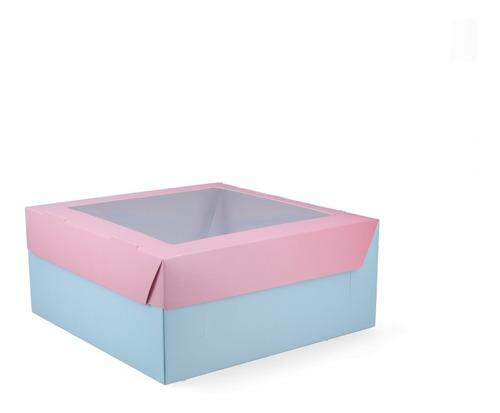 25 Cajas Con Visor Para Tortas Regalos (25x25x11cm) Bicolor