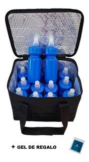 Bolso Termico Canasto + 12 Caramañolas Botellas Hidratacion