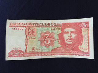 Tres Pesos Billete Cubano Del Che Guevara